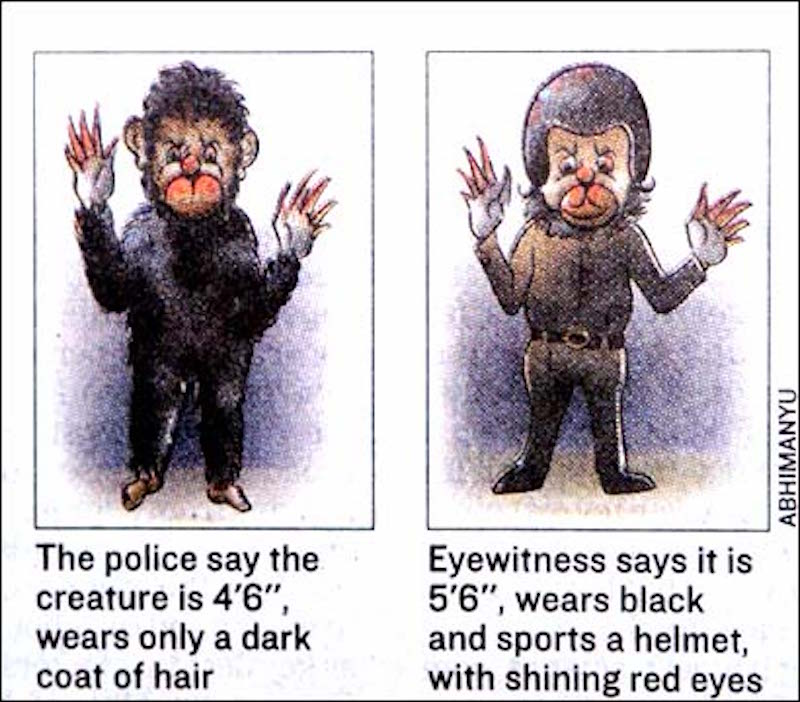 An artist's impression of the two different versions of the Monkey Man