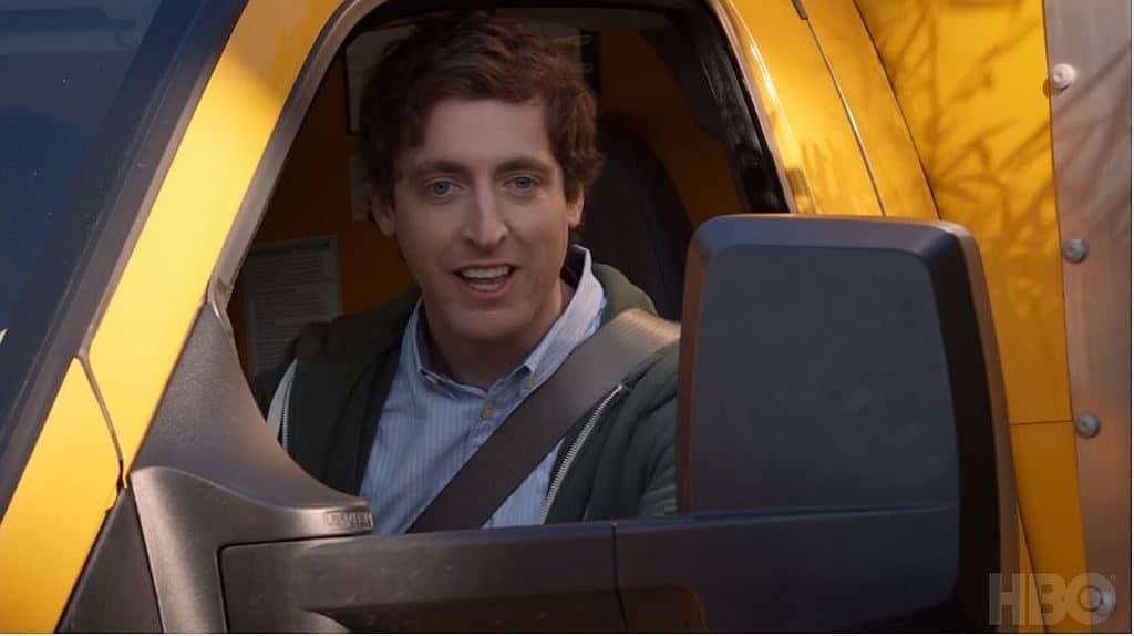 Thomas Middleditch as Richard Hendricks in a yellow van on Silicon Valley