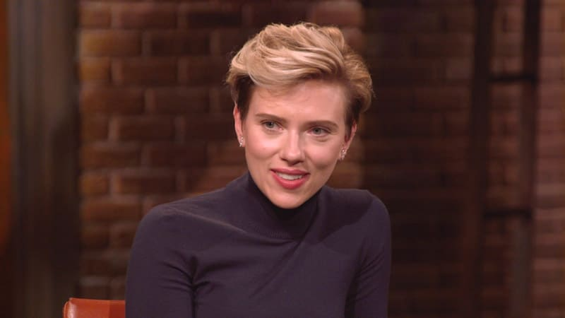 Scarlett Johansson talking as she faces the camera on Inside the Actors Studio
