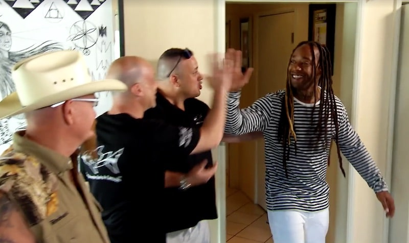 Ty Dolla $ign high fives the team from ATM Acrylic Tank Manufacturing