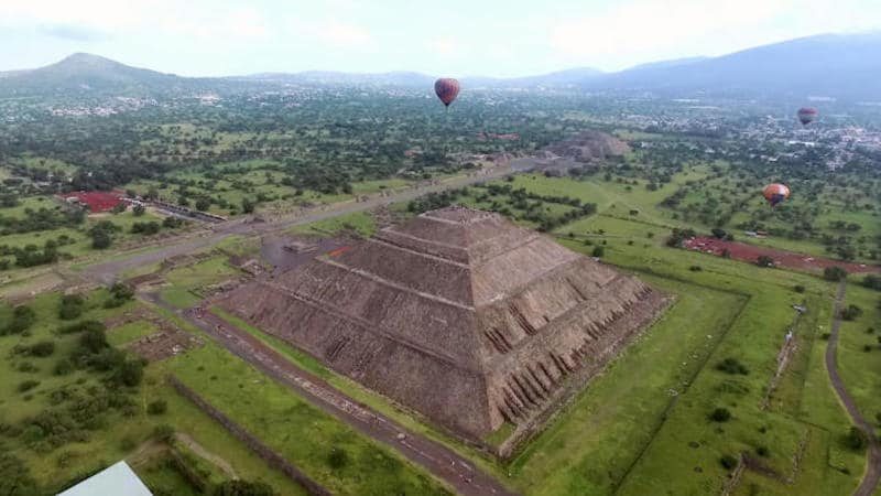 The Pyramid of the Sun at Teotihuacan from the air