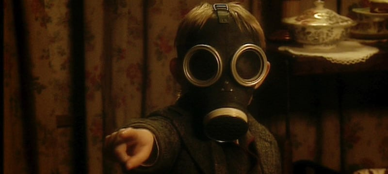 The Empty Child wearing a gas mask