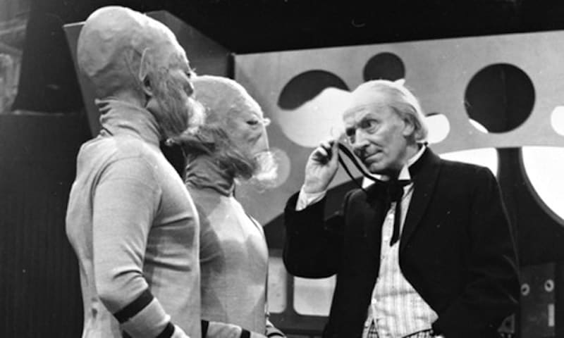 William Hartnell as the Doctor in a black and white pic