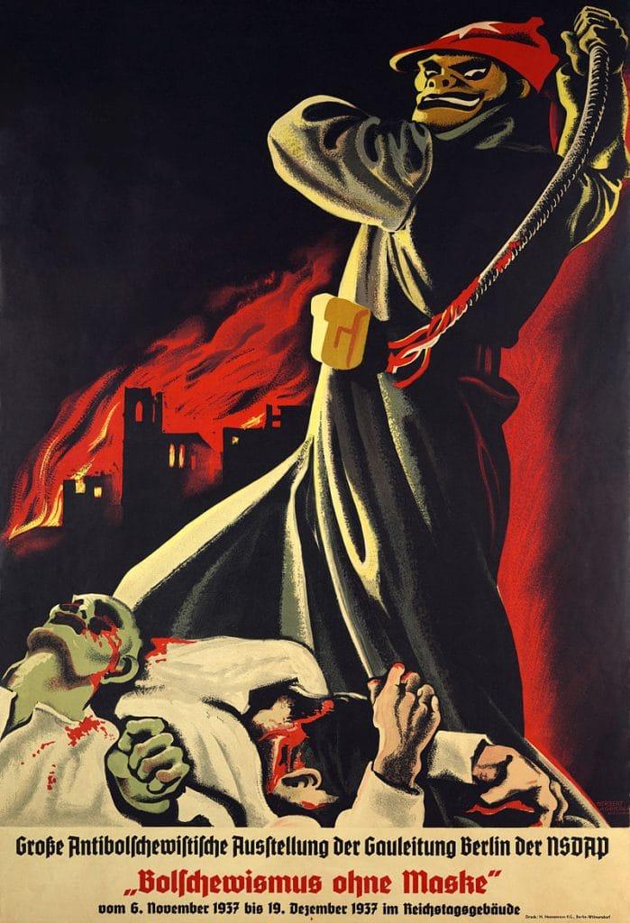 1937 anti-Bolshevik Nazi propaganda poster showing a threatening looking man