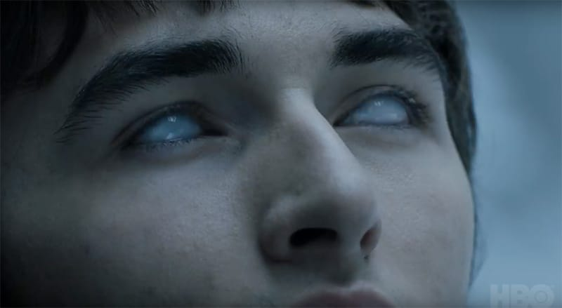 Bran greenseeing on Game of Thrones