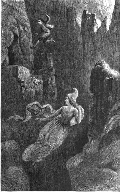 Drawing showing a man jumping off a cliff after the queen of elves