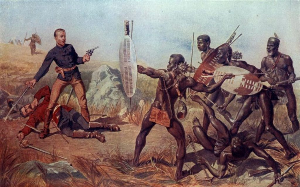 Painting of Zulu warriors in battle against European army using their short spears and rushign tactic to overwhelm the better armed soldiers