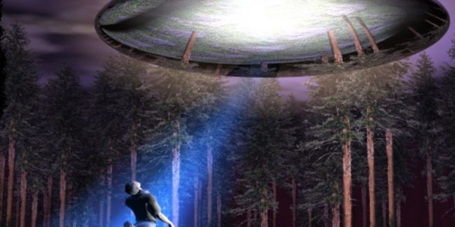 Illustration of a man being transported up to a UFO with a beam of light