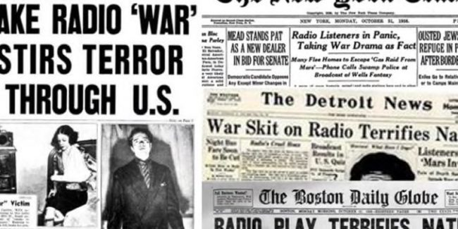 Newspaper cuttings from the day after Orson Wells broadcast HG Wells The War of the Worlds on radio