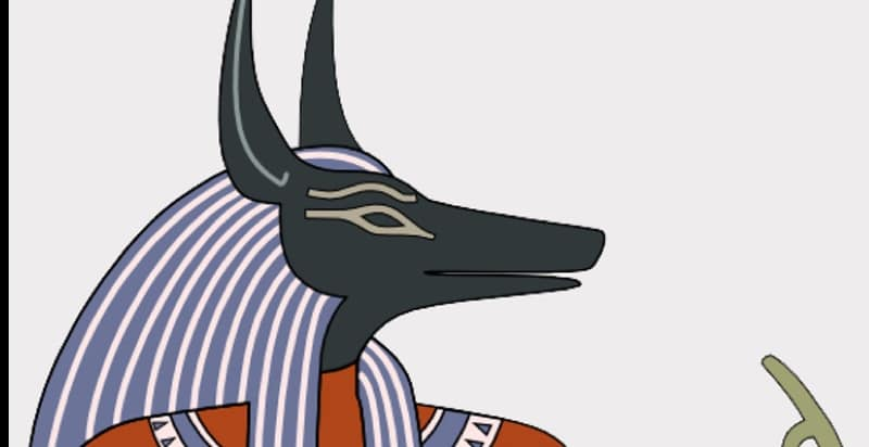 Painting of ancient Egyptian god of the dead Anubis