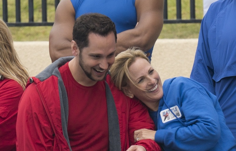 Matt McGorry and Marlee Matlin standing together smiling on Battle of the Network Stars