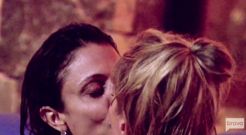 Bethenny kissing Sonja in the pool on this week's The Real Housewives of New York City