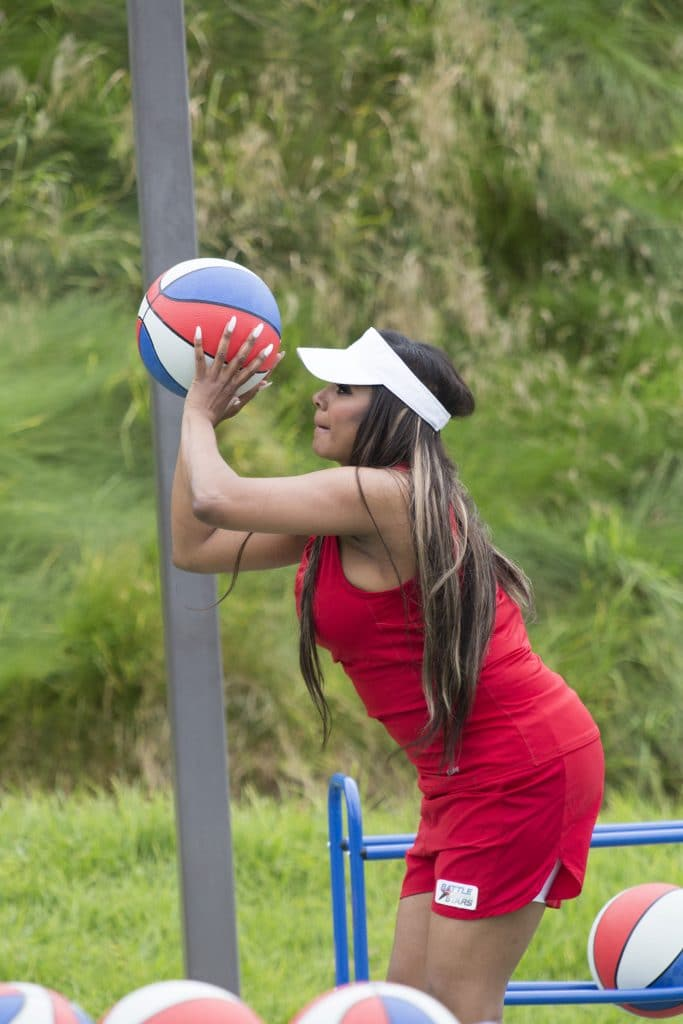Traci Bingham shows off her ball skills on Battle of the Network Stars ABC/Kelsey McNeal)