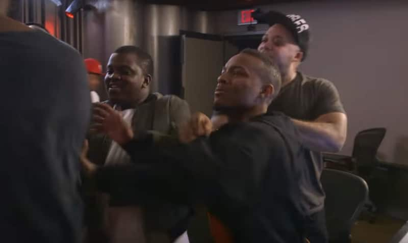 Bow Wow and his entourage in a fight in the studio on the Growing Up Hip Hop Atlanta finale