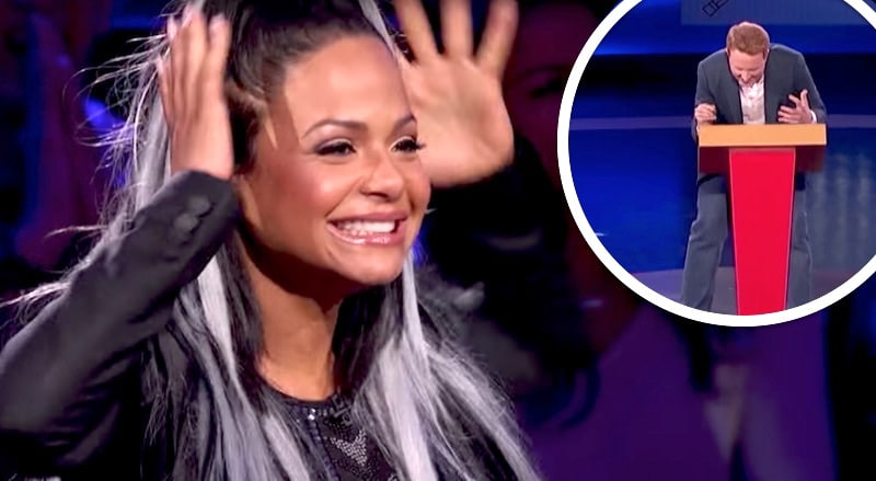 Christina Milian on SuperHuman and, inset, Tyler Hinman doing his challenge