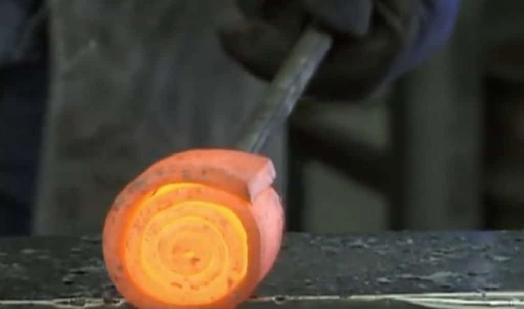 Red-hot metal rolled up in a 'jelly-roll'