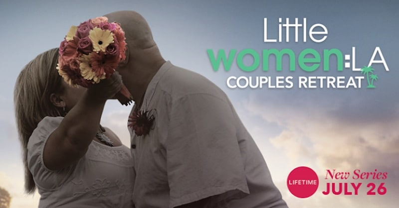 Christy Gibel and husband Todd kissing while she holds flowers in a promotional photo for Little Women LA: Couples Retreat