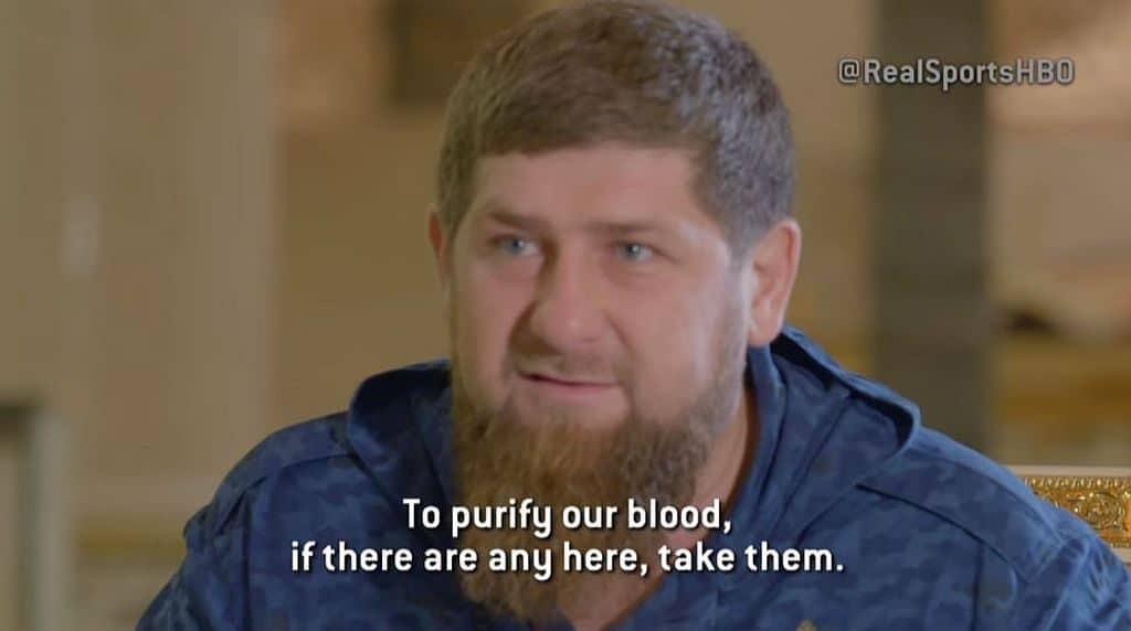 Ramzan Kadyrov on HBO's Real Sports with a caption reading 'To purify our blood, if there are any here, take them.'