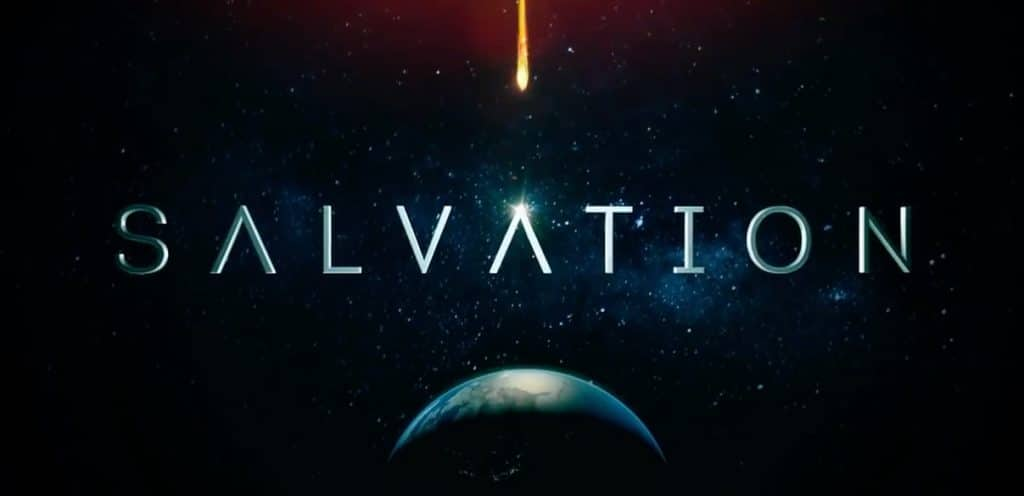 Salvation titles showing the name of the show and a fiery asteroid heading for Earth