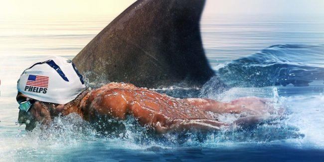 Artwork depicting Michael Phelps racing a great white shark