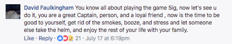 Facebook comment about Sig Hansen's smoking