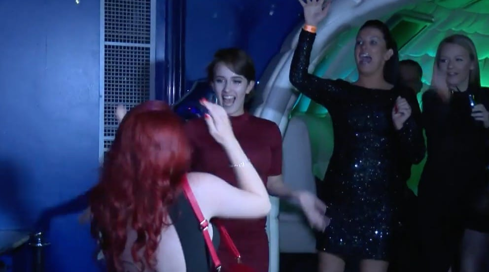 Megan arrives at club to surprise by friends