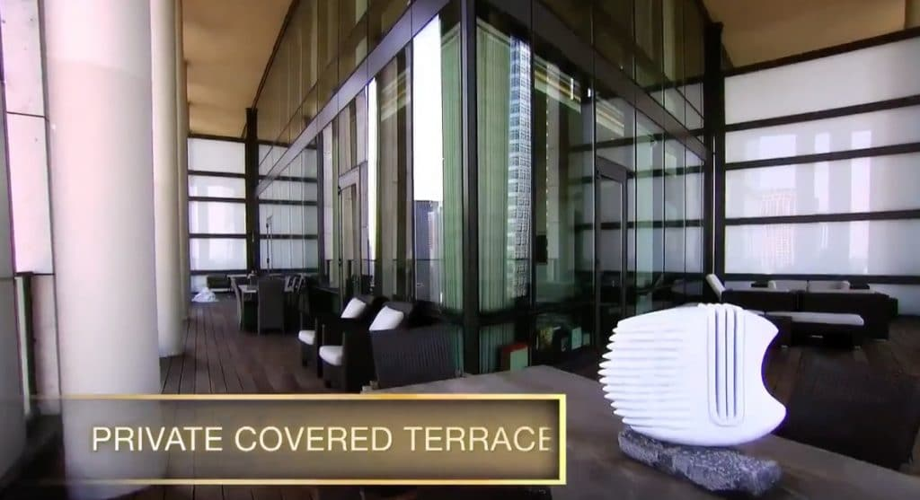 The covered outside terrace with room for more than a dozen to sit and multiple tables