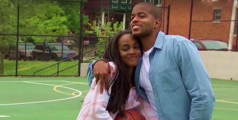 Rachel and Erik hug on a basketball court on The Bachelorette