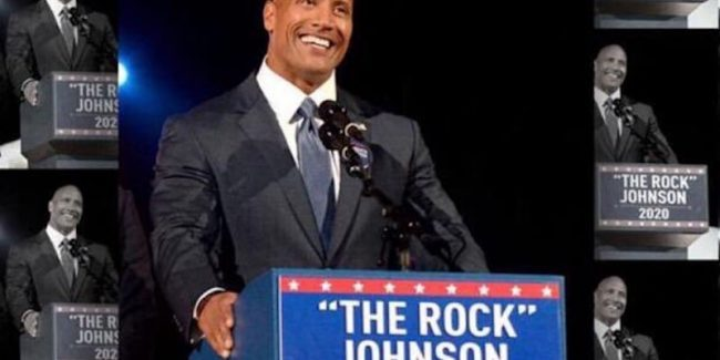 Dwayne 'The Rock' Johnson in a faux 'campaign pic'
