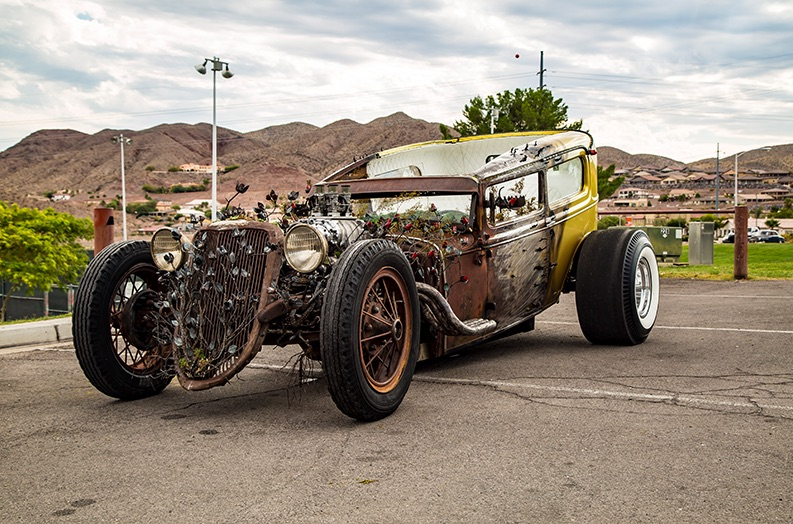 """Picture of the """"rose"""" car Steve built for Welder Up general manager Joe Giamancoand his son"""