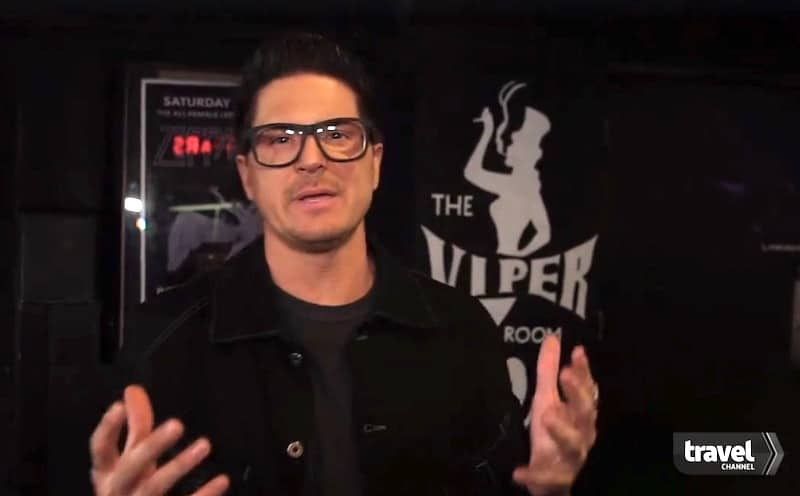 Zak Bagans at the spot where River Phoenix died outside The Viper Room