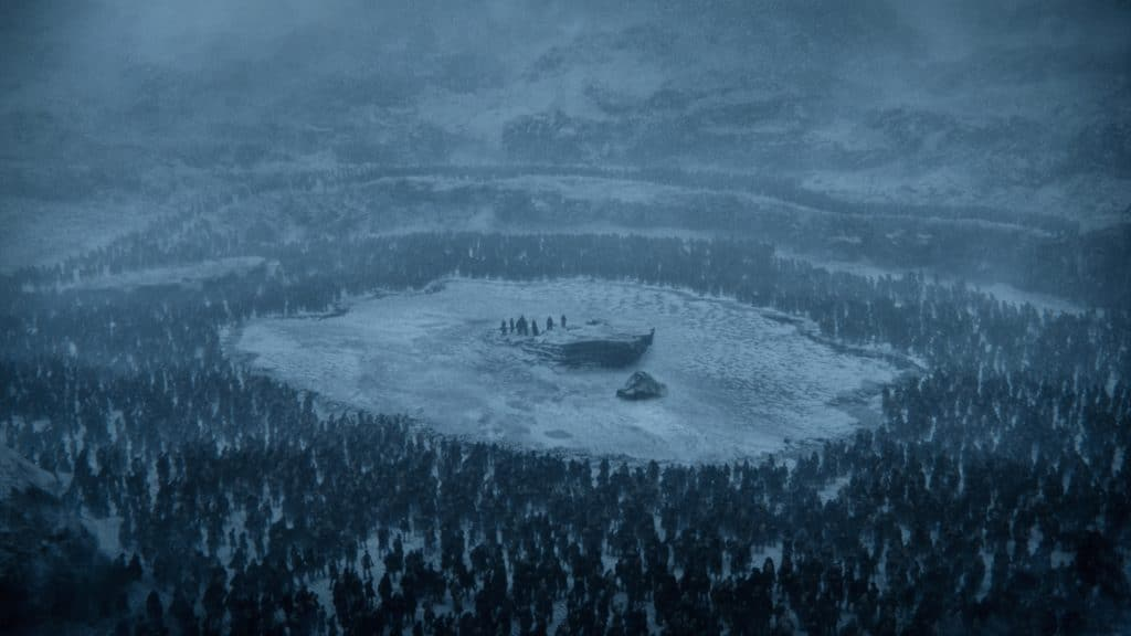 Before the dragons' rescue, the group is circled by the White Walker army