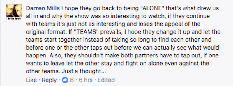 Comment on Alone Facebook page