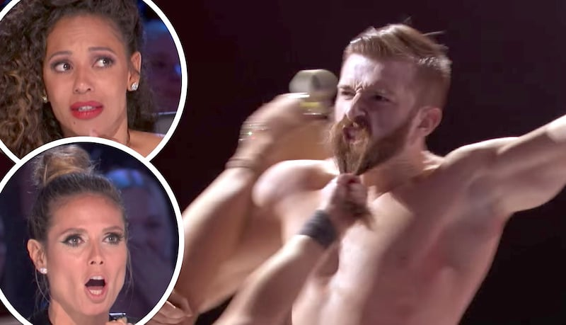 Mel B and Heidi Klum freak out as skater spins sister round with beard on America's Got Talent