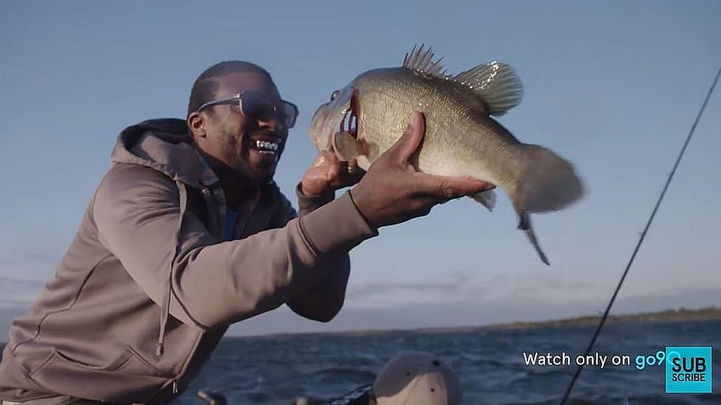 Carnell 'Dimension' Lee with a fish on Breaking Bass