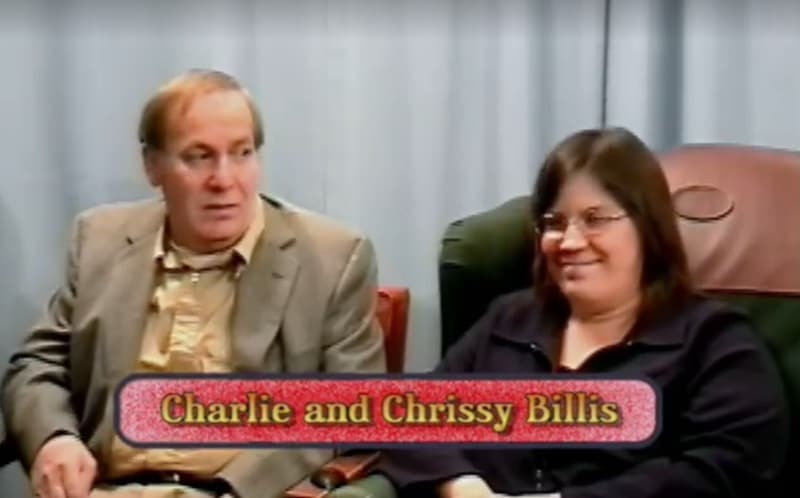 Charlie and Chrissy Billis sitting together in TV show footage from American Monster