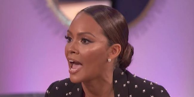 Evelyn Lozada shouting on the Basketball Wives reunion