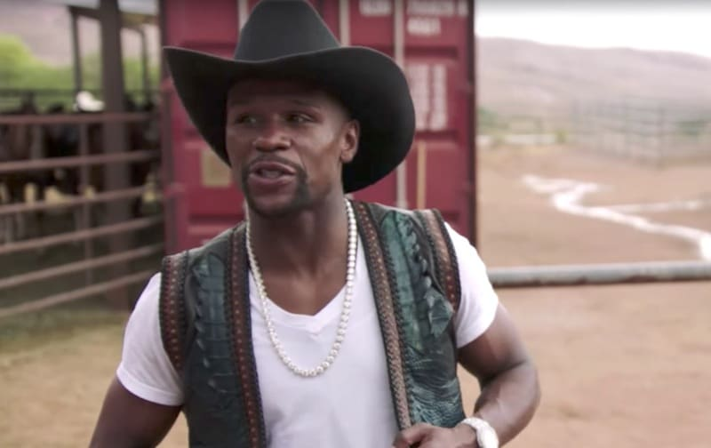 Floyd Mayweather dressed as a cowboy on All Access