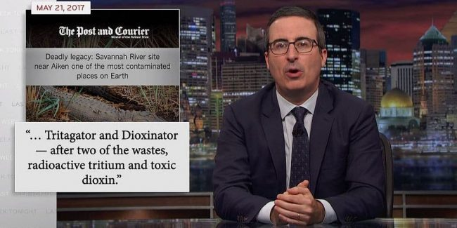 Radioactive gators and USA's lack of 'nuclear toilet' highlighted on Last Week Tonight