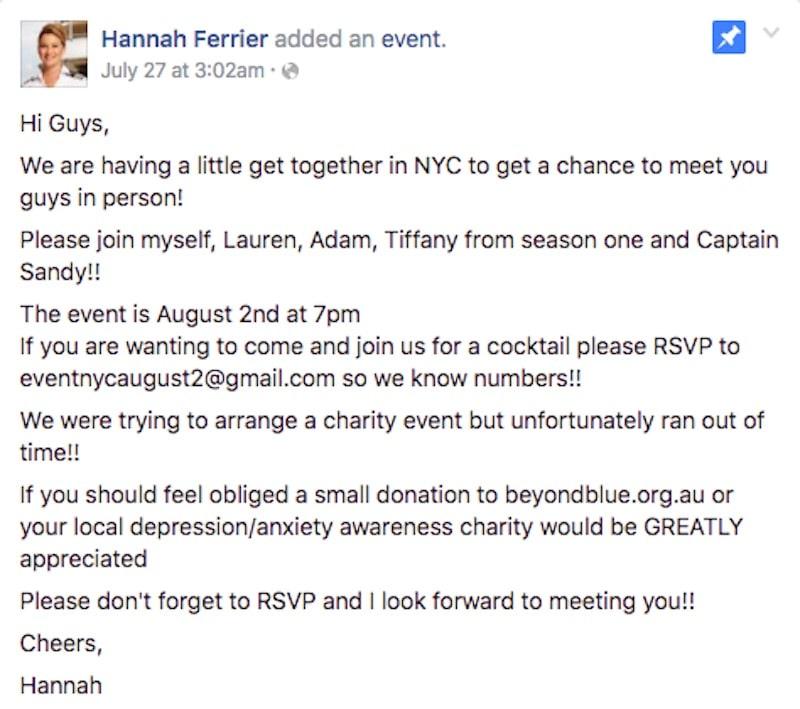 Facebook post detailing the Below Deck Mediterranean meet-and-greet event