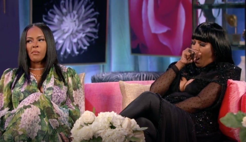 Jackie Christie yawning on the Basketball Wives reunion