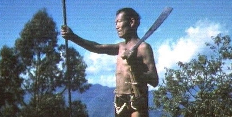 Burmese man with spear and dao