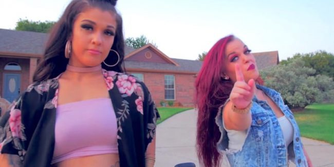 Emily Fernandez and Bri Barlup in their new music video Poppin' Bottles