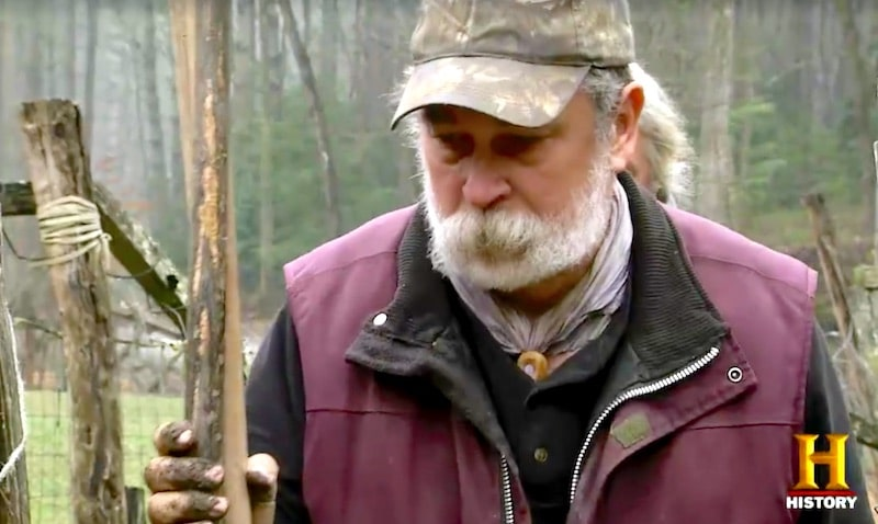 Preston Roberts walking in front of Eustace Conway on Mountain Men