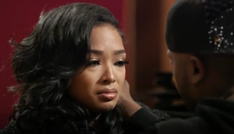 Princess Love crying as she talks to Ray J on Love & Hip Hop Hollywood