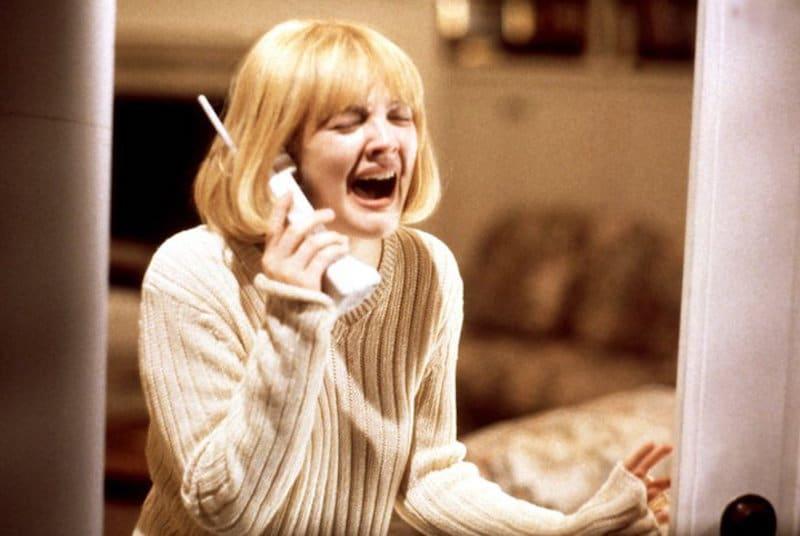 Drew Barrymore screaming in Scream