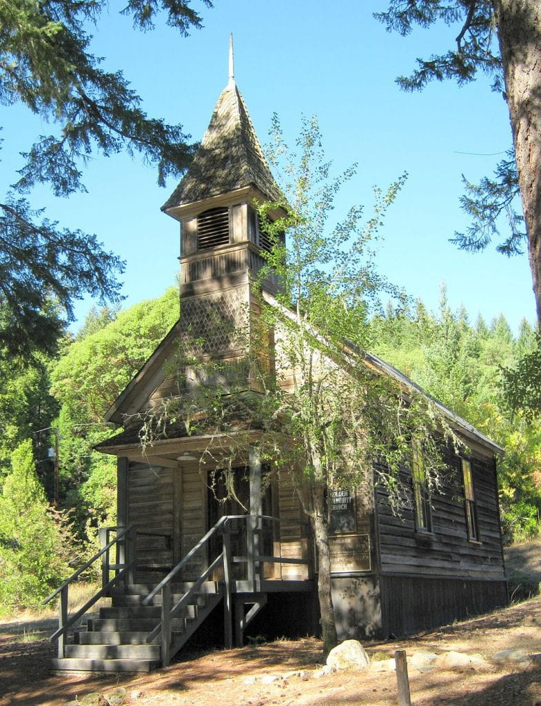 The church at the ghost town of Golden