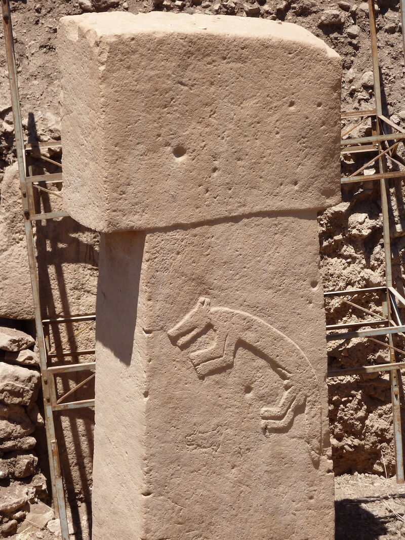 A carved fox on one of the pillars at Gobekli Tepe