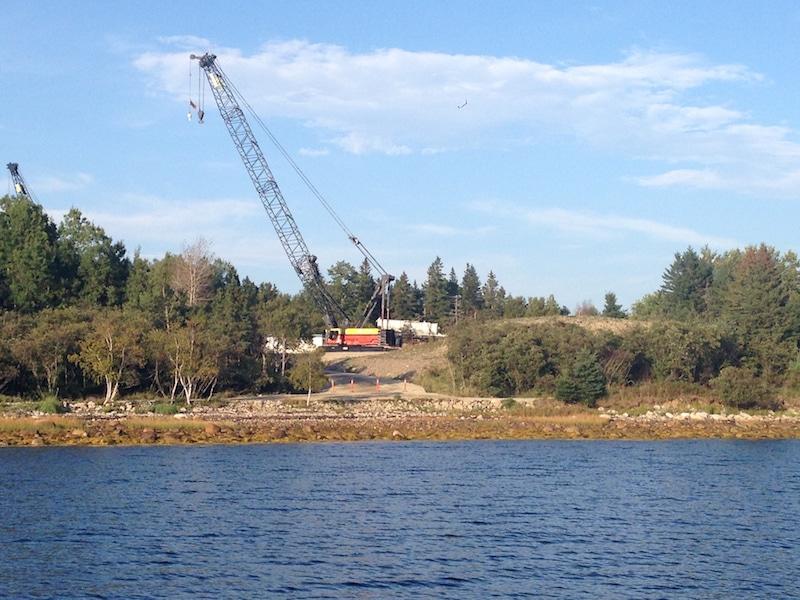 A single crane on Oak Island