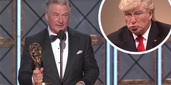 Alec Baldwin accepting his Emmy and him as Donald Trump on SNL